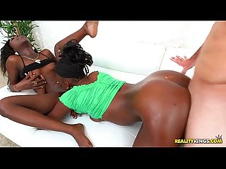 Two petite ebony lesbians get fucked and covered in cum realitykings com