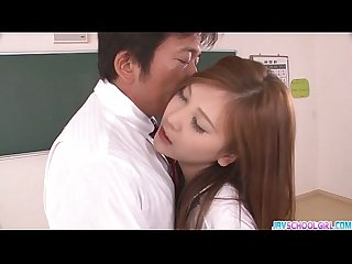 Horny asian schoolgirl blowjob and fucking