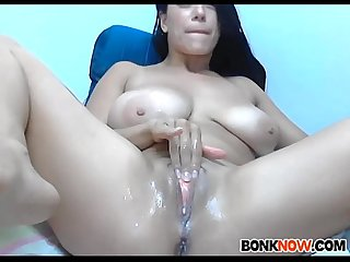 Big tits girl squirts a fountain
