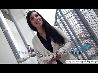 Working euro babe side tracks in working a cock in public and squirts