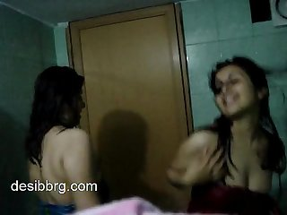 Indian two hot hostel girls enjoy dancing in shower getting wet