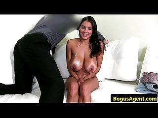 Hairy casting beauty with huge natural tits