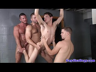 Group of gay cops fucking young hunk