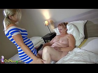 Oldnanny brunette mature shows her panties