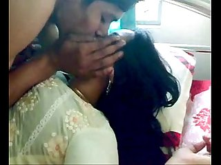 Shy indian honeymoon couple foreplay