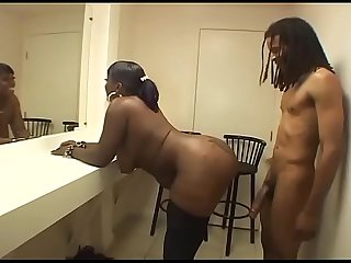 Sexy black fat girl in stockings banged on a chair!