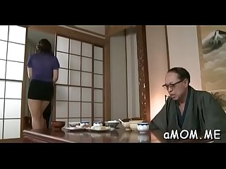 Naked mom enjoys young cock in her asian pussy