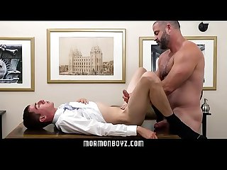 Mormonboyz muscle bear daddy cums in timid tiny twink s mouth