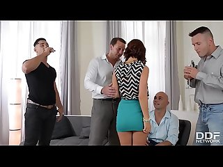 Gangbang with busty hot babe Tina Hot makes 4 studs cum all over her