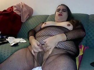 BBW CD cums hard in bodystocking - DickGirls.xyz