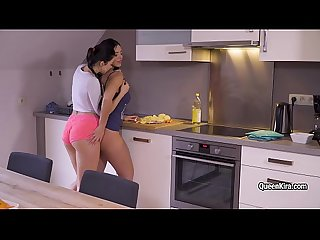 Kira Queen and her GF hot lesbo action in the kitchen