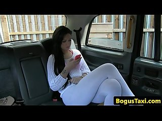 Tattooed amateur pussyfucked by taxi driver