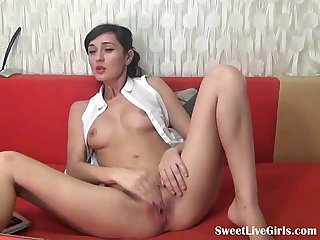 hot brunette masturbating on a red couch(3).flv