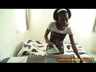 Young african teen working as personal maid pleasured bareback fucking