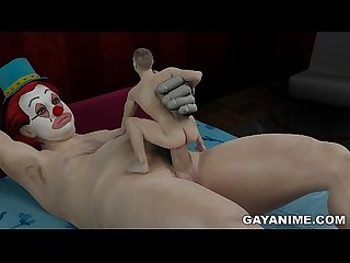 Mini 3d man fucked by clown