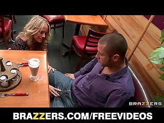 Sexy blonde waitress seduces her customer away from his date