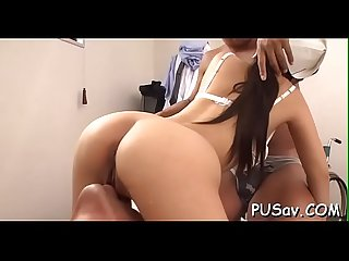 Oriental slut doesnt mind getting her love muffins squeezed and fingered