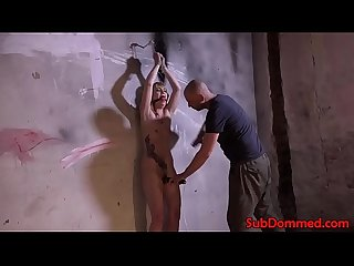 BDSM sub whipped and toyed by maledom