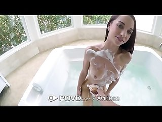 Povd soapy bath fuck and creampie with petite paisley rae