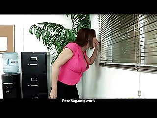 Busty babe fucking her boss in the office 12