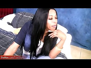 Leaked full video of ebony Ts with natural tits giving head
