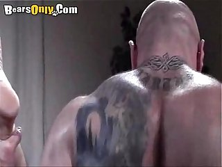 Tattooed beefy dad dog style fuck