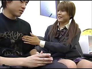 Japanese depressed brother is encouraged by sister s handjob