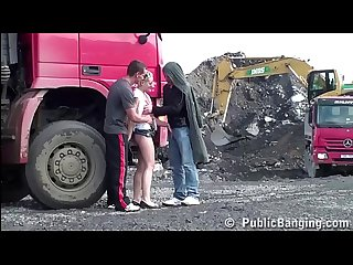 Cute young teen girl public gang bang threesome at a construction site