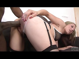 Interracial Fuck Blonde Babe Stockings sexy lingerie fucks black cock on couch