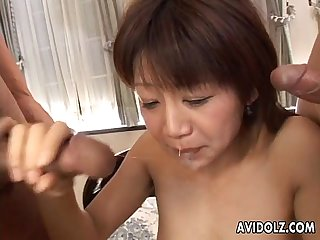 Japanese slut ami kitazawa gets banged by two dudes uncensored