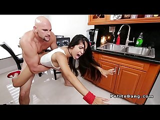 Petite latina Babe gags huge dick in the kitchen