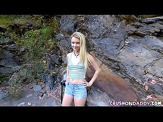 Cute Blonde Step-Daughter Fucks Stepdad Outdoors