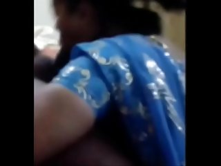 South indian hot aunty in blue saree sucking her husband cock like lollipop