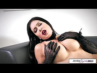 Jessica Jaymes show her long legs, tight ass, big boobs and little pussy