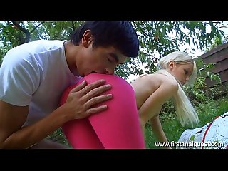 Firstanalquest com young anal sex outdoors with a gorgeous skinny teen