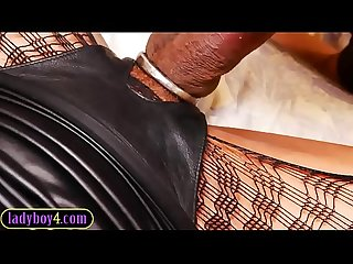 Domination ladyboy fucks a guy in his mouth and asshole
