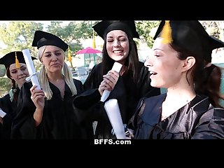 Bffs celebrating graduation with lesbian threesome