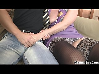 Old Grandma spreads legs for fresh cock