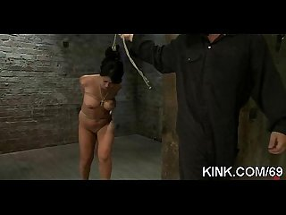 Sexy babe bound, suspended, punished and fucked