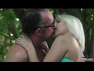 Teen swallows old man cum