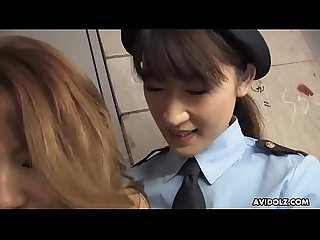 Lesbian police officer licks and toys Japanese hottie Momomi Sawajiri