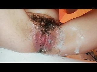 shaving off my extreme hairy big clit cunt in close up